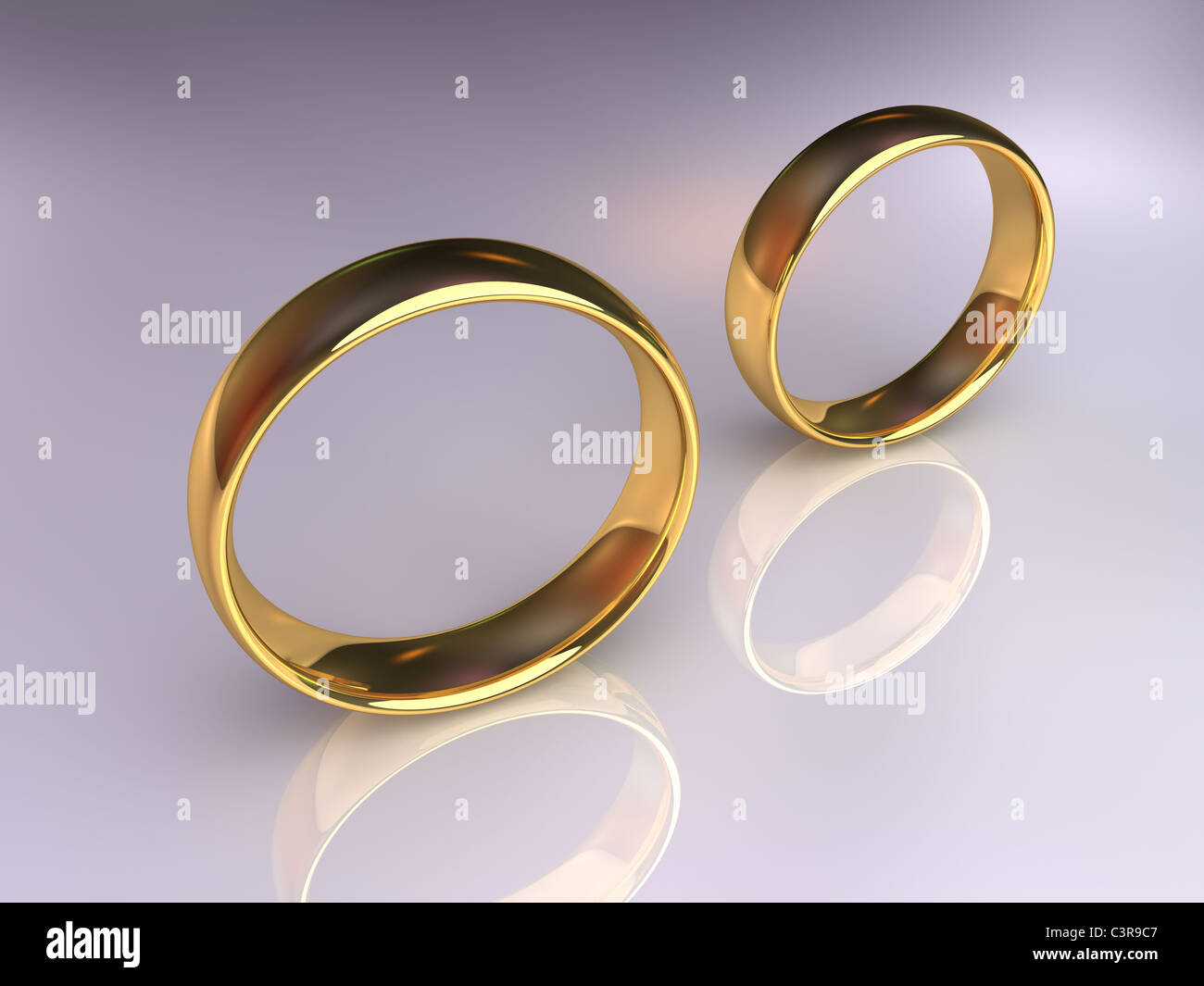 Two golden wedding rings together but apart, 3d render - Stock Image