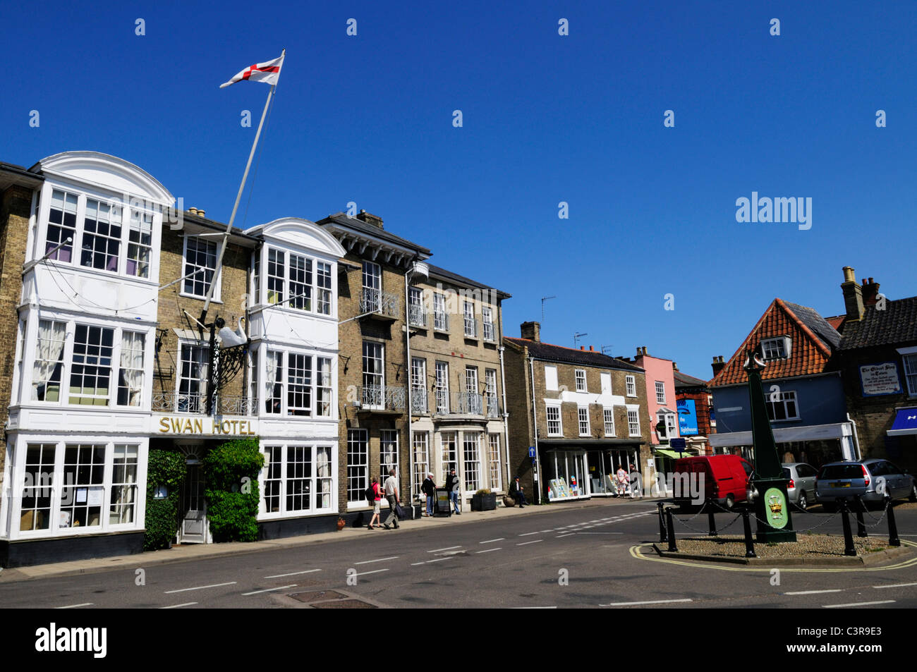 The Swan Hotel and Market Place, Southwold, Suffolk, England, UK - Stock Image
