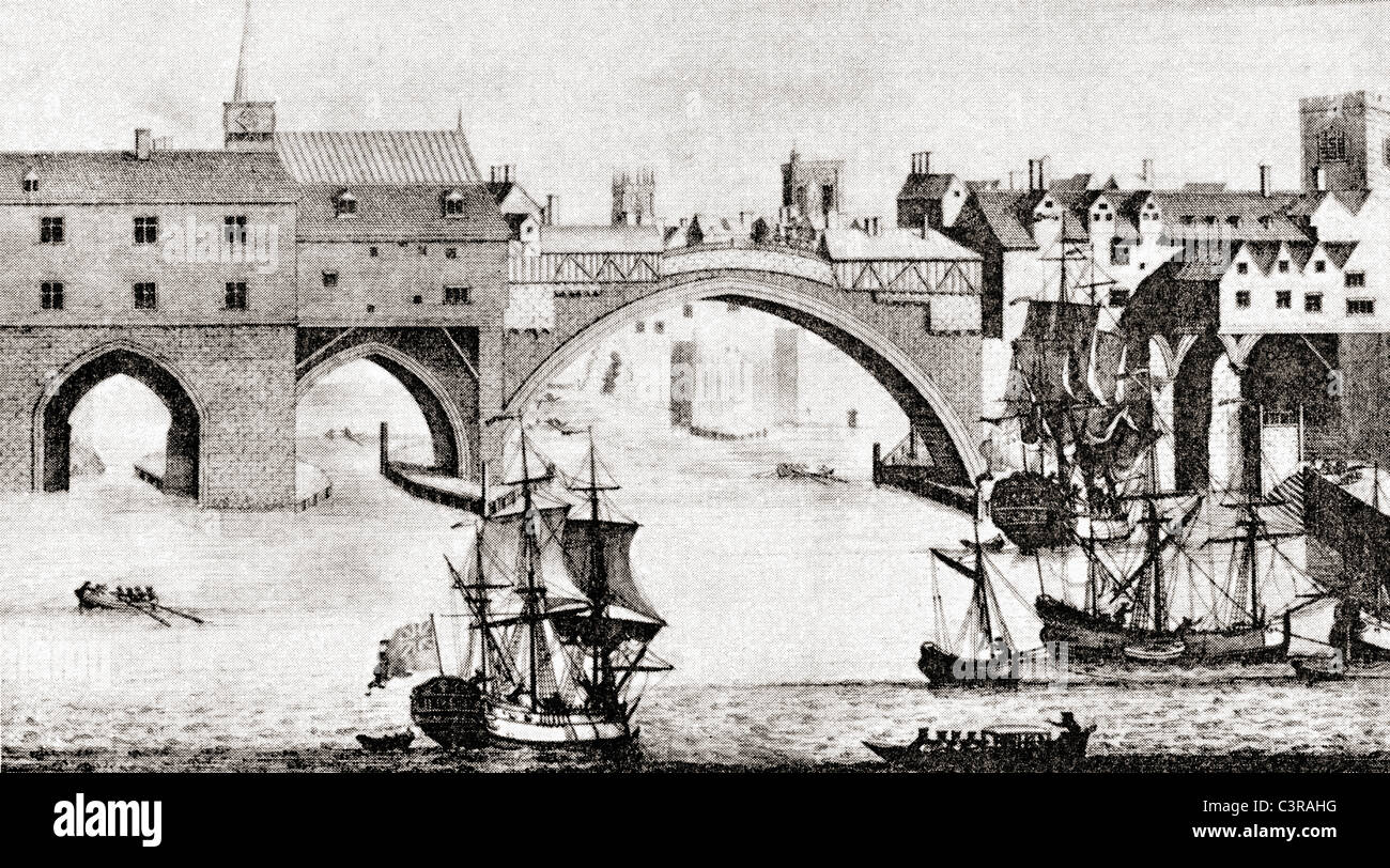 The Old Ouse Bridge, River Ouse, York, England, before being dismantled in the early 19th century. - Stock Image