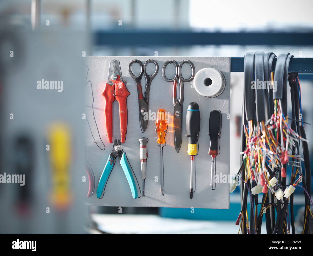 Organised tools and cables - Stock Image