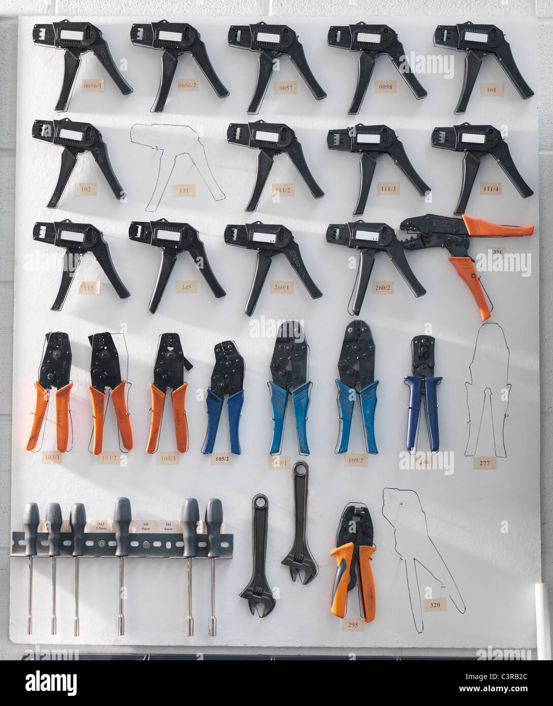Tools arranged and organised - Stock Image