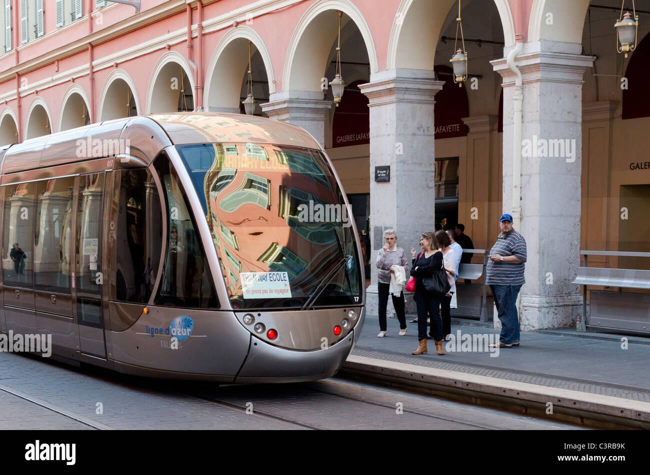 Tram approaching Place Massena, Nice - Stock Image