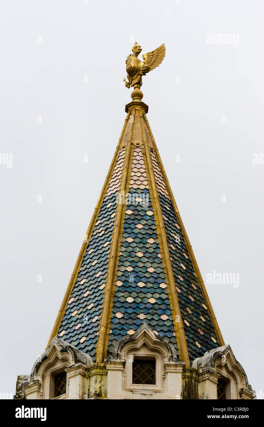 A spire on the Russian Orthodox Cathedral in Nice. Cathédrale Orthodoxe Russe Saint-Nicolas de Nice - Stock Image