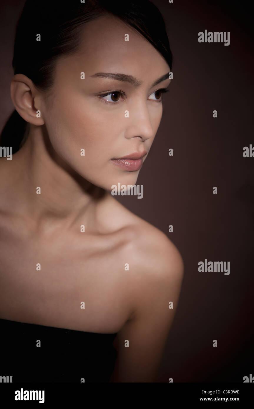 Beautiful dark haired woman - Stock Image