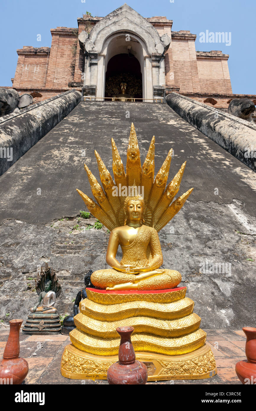 Wat Chiang Mun old buddhist temple in chiang mai, Thailand - Stock Image