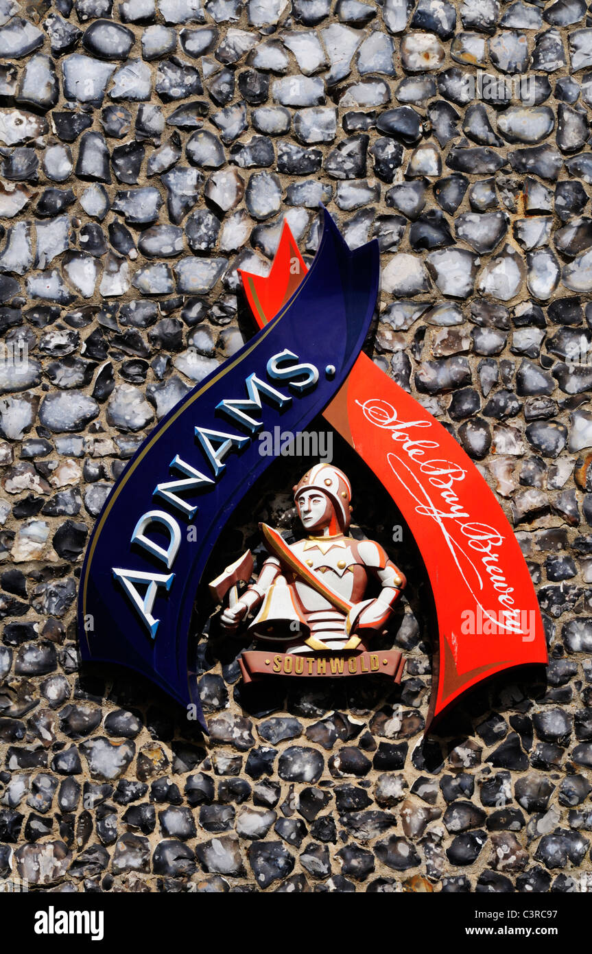 Adnams Sole Bay Brewery Sign, Southwold, Suffolk, England - Stock Image