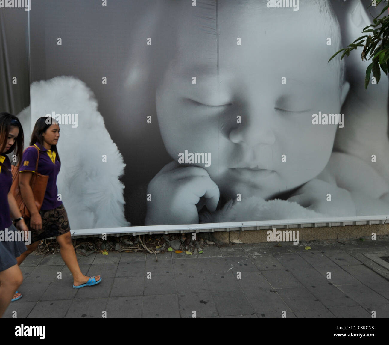 The wall, Bangkok has some weird walls and extraordinary people, Bangkok life, streets of Bangkok, Thailand - Stock Image