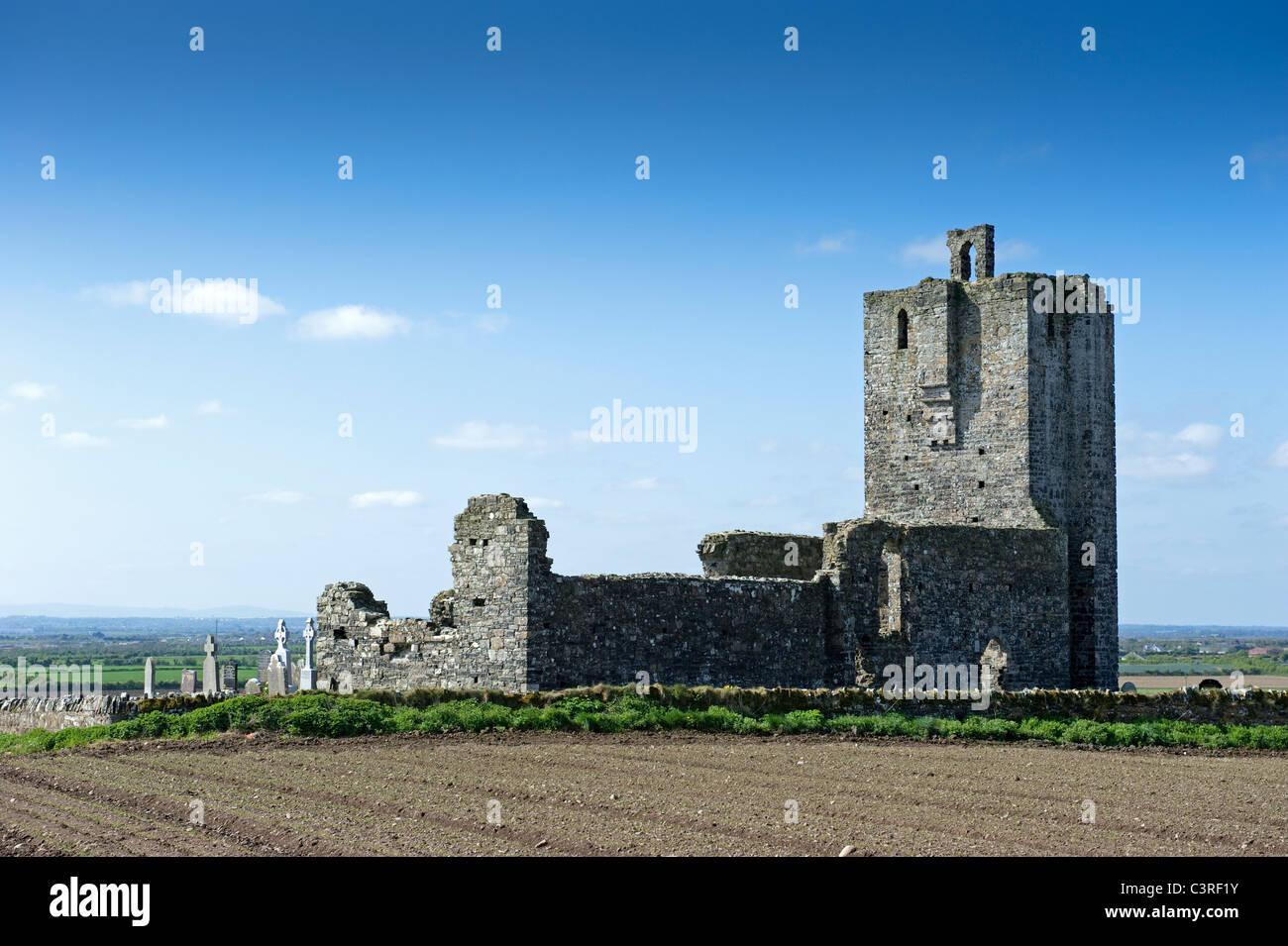The ruins of Baldungan Castle, near Skerries, county Dublin, Ireland - Stock Image