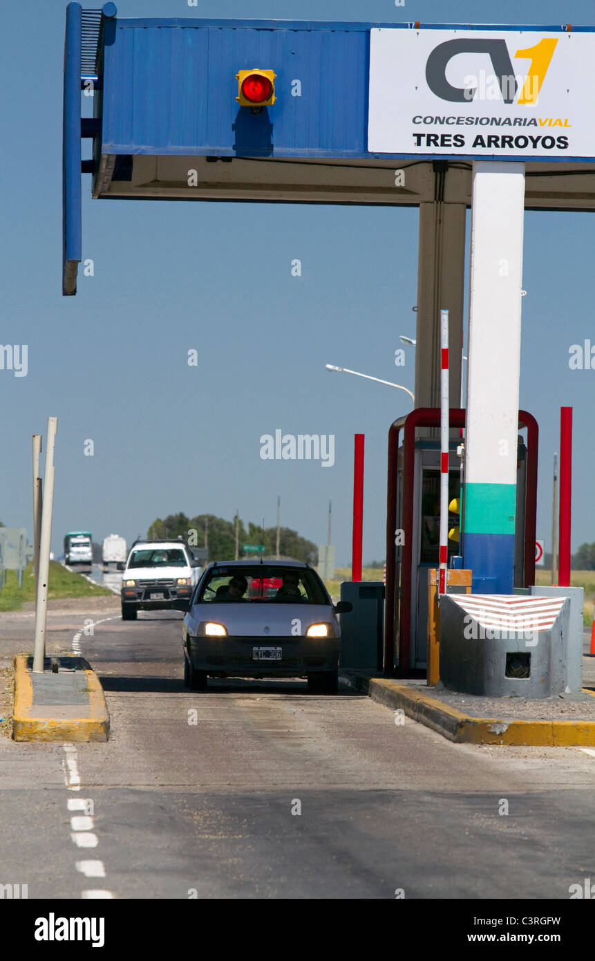 Tolls being collected along National Route 3 in Buenos Aires province, Argentina. Stock Photo
