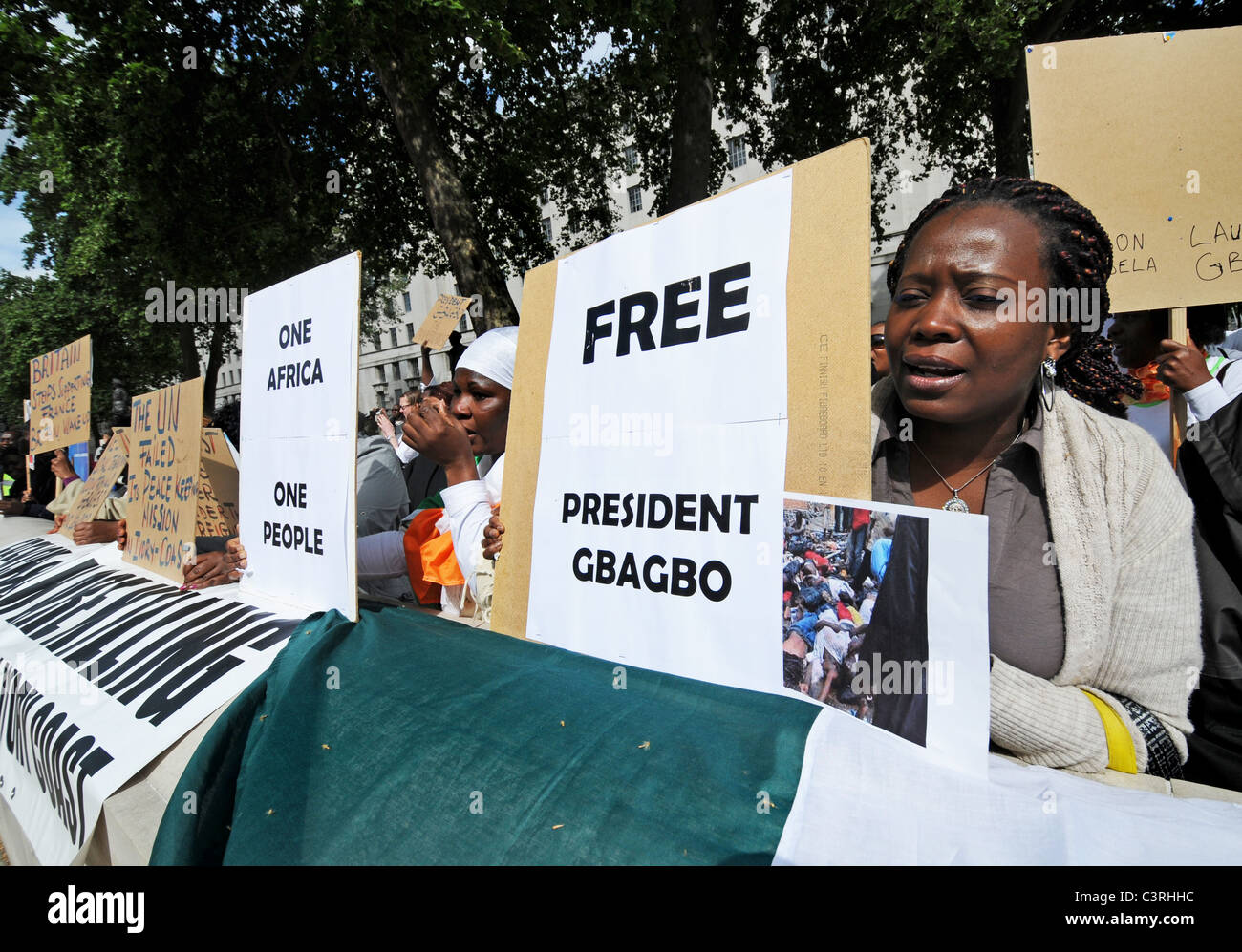 pro President Gbagbo supporters protest French & UN interference, rigging election & creating civil war in the Ivory Stock Photo
