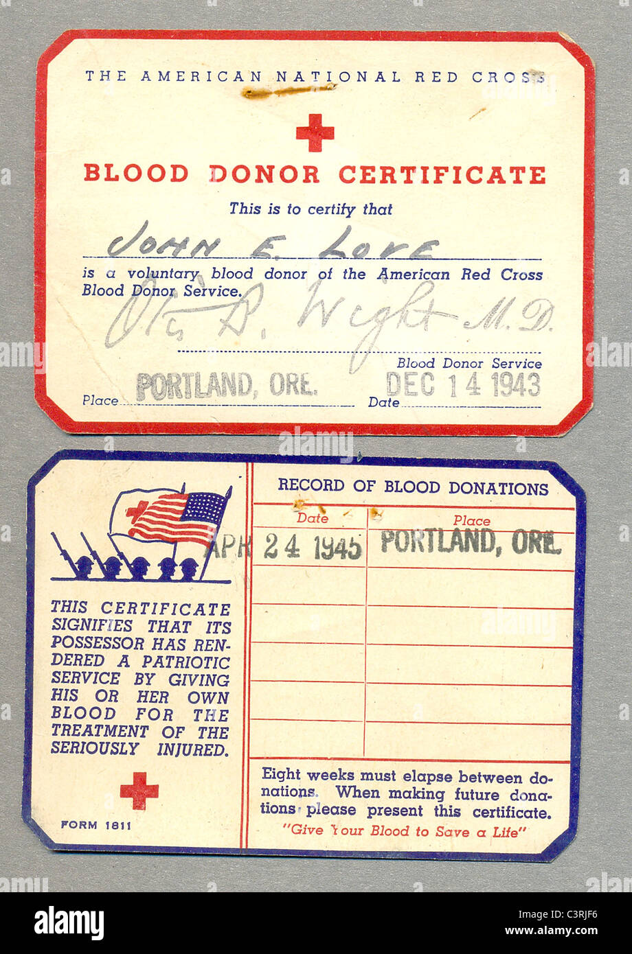 blood donor certificate and record