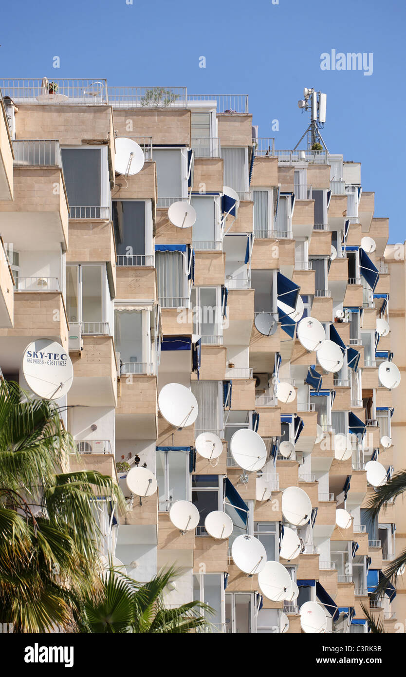 Satellite dishes, Portals Nous, Spain - Stock Image