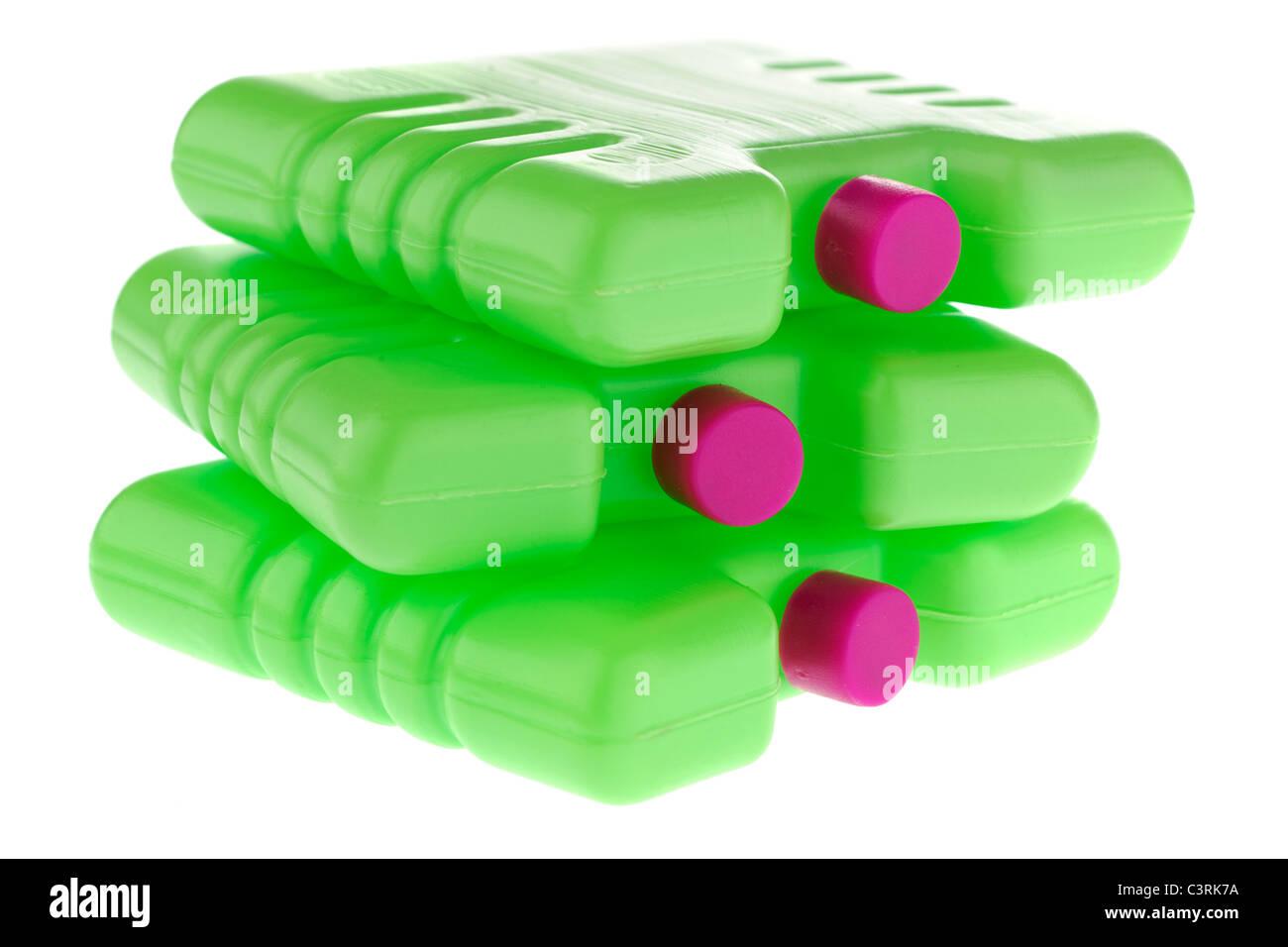 Three plastic green mini freezer blocks - Stock Image