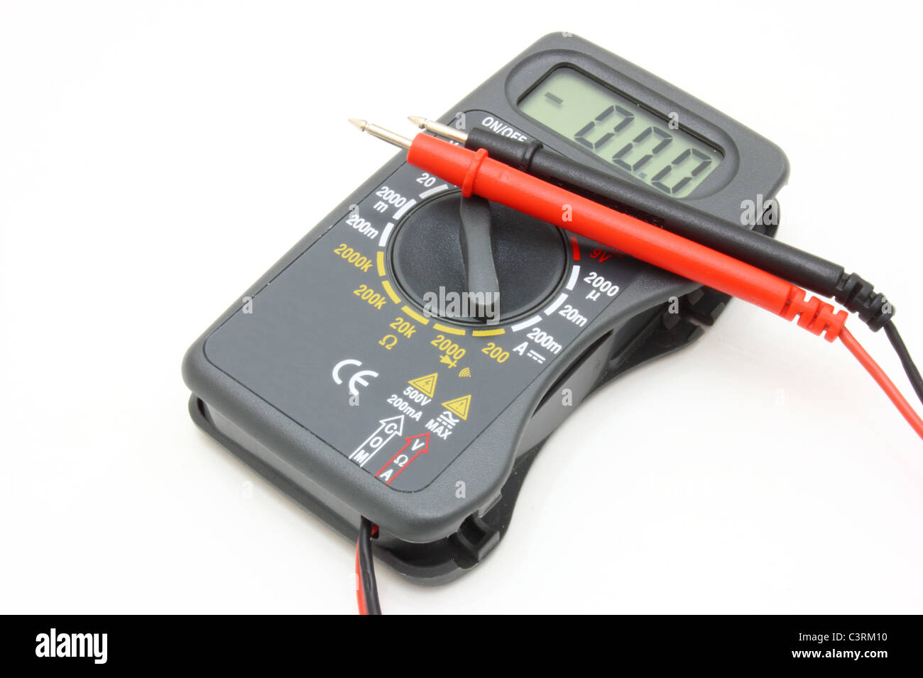 Multimeter of black color with a red and black wire on a white Stock ...
