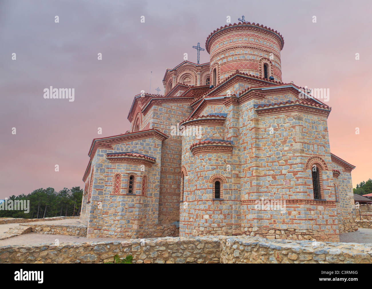 Holy historic church Saint Panteleimon founded by Clement on the coast of lake Ohrid in town Ohrid Macedonia at - Stock Image