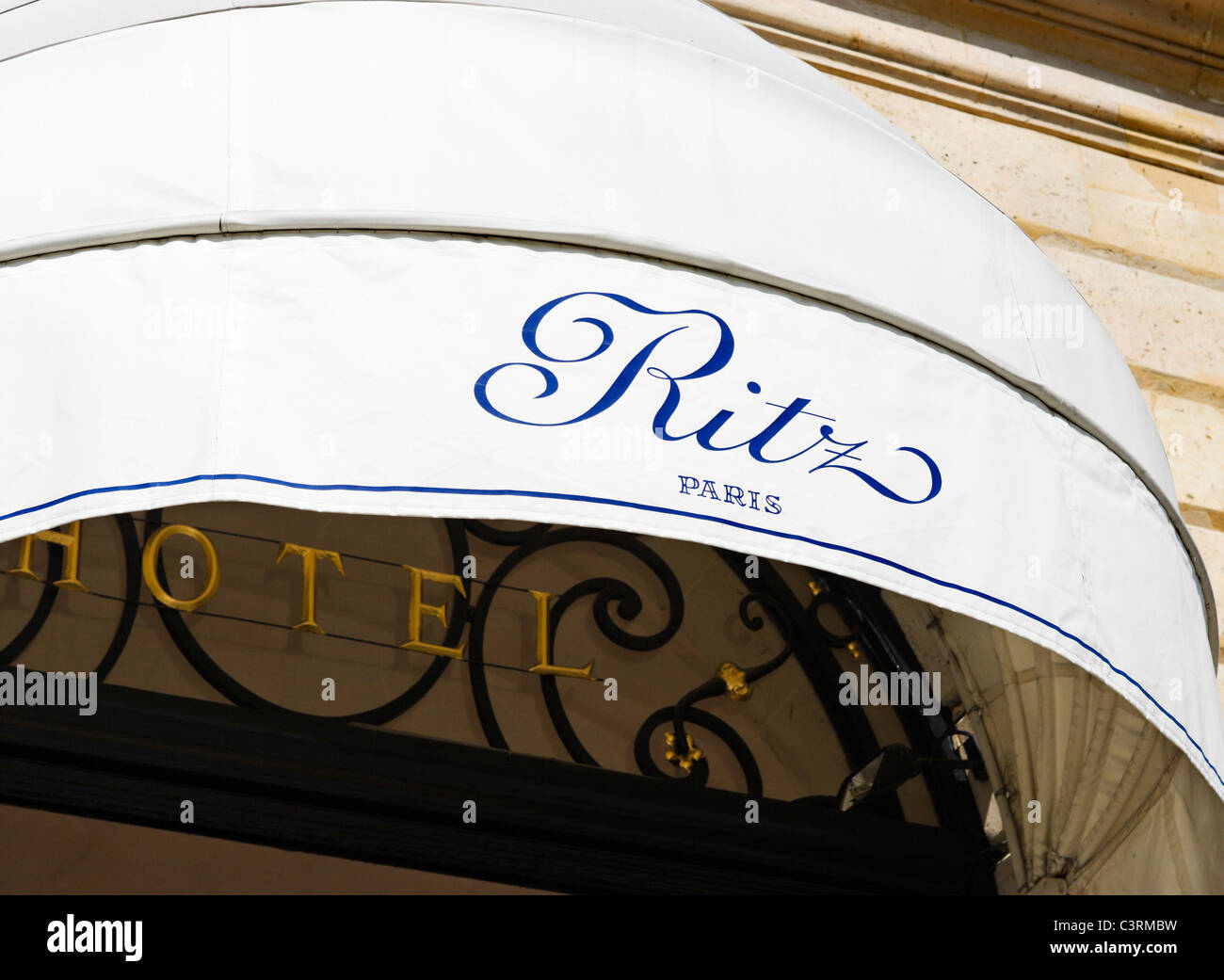 Awning over the entrance to The Ritz Hotel, Place Vendome, Paris, France - Stock Image