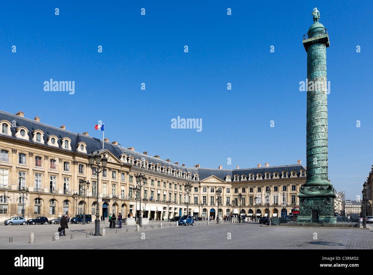 The Ritz Hotel, Palace of Justice and column of Napoleon, Place Vendome, Paris, France - Stock Image