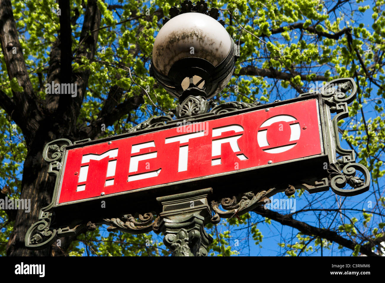 Metro sign, Paris, France - Stock Image