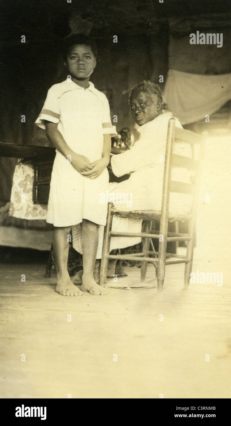 african american black children of sharecroppers 1930s great depression extreme poverty racism two portrait - Stock Image