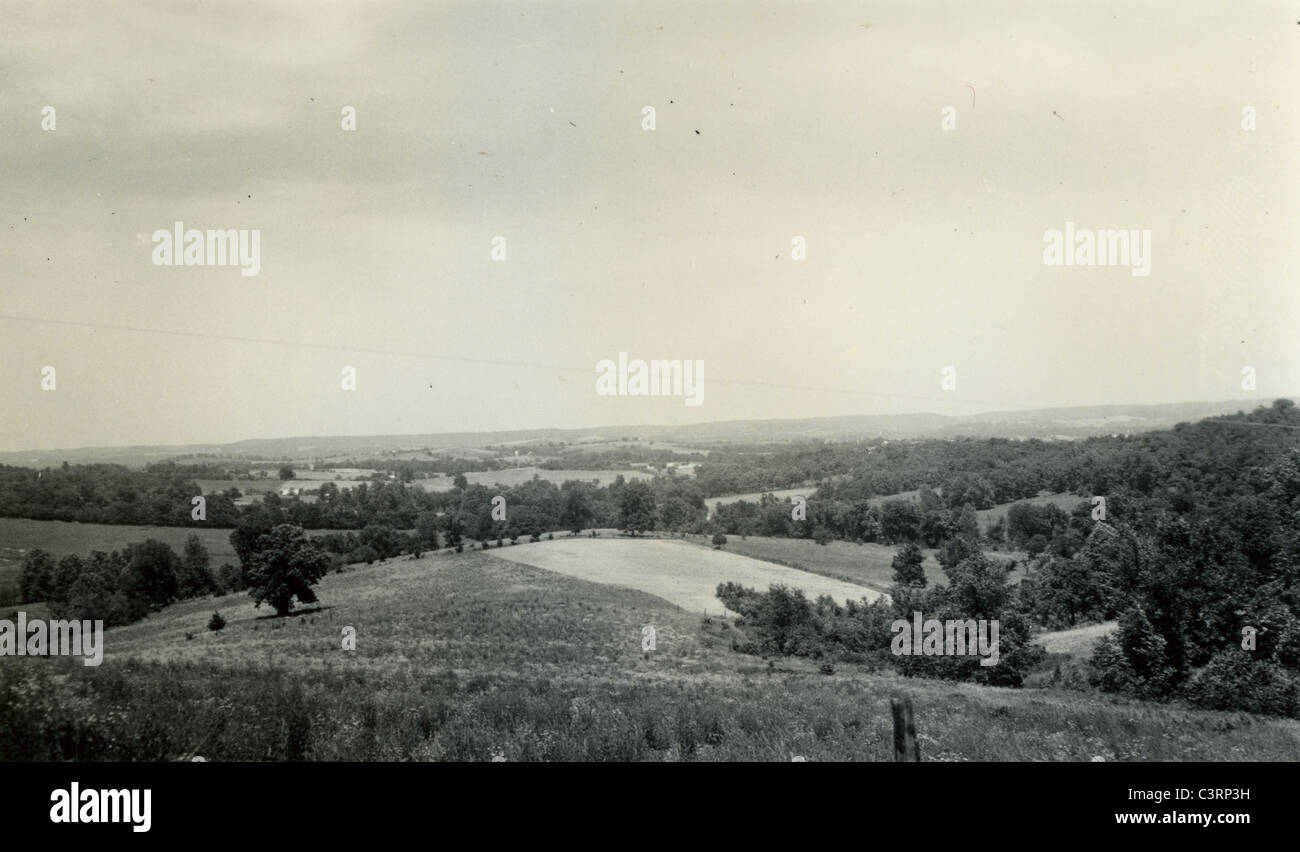 view over looking the Ozark Mountains landscape scenic 1939 1930s - Stock Image