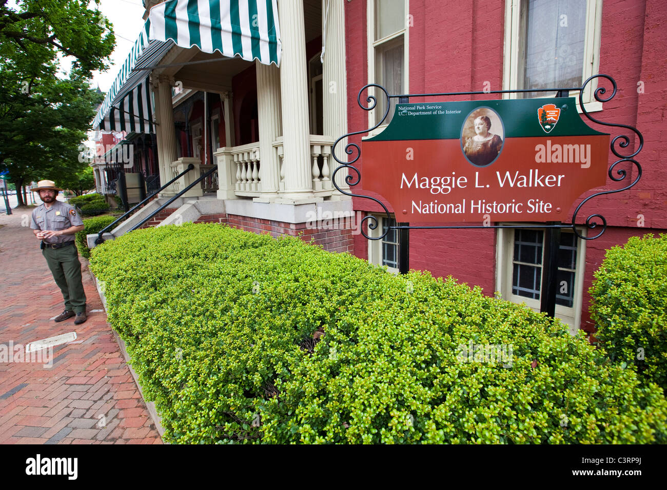 Maggie L Walker National Historic Site, historic black neighborhood, E Leigh Street, Jackson Ward neighborhood Richmond, - Stock Image