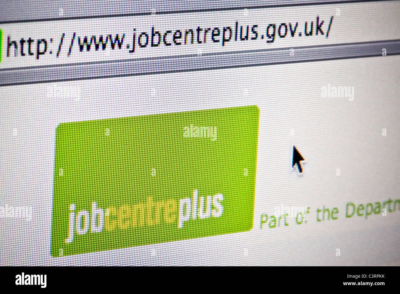 Close up of the Jobcentre Plus logo as seen on its website. (Editorial use only: ­print, TV, e-book and editorial - Stock Image