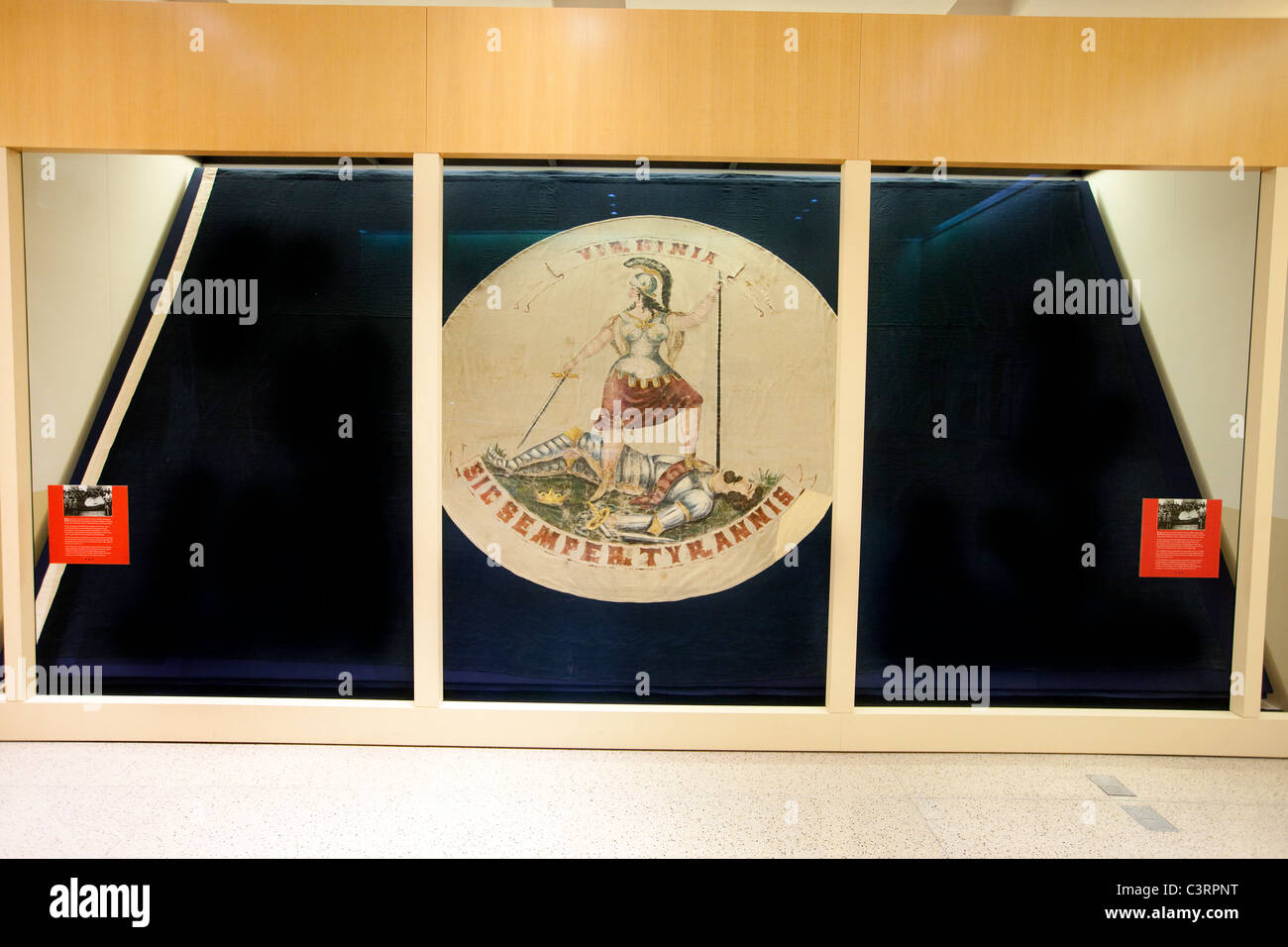 State flag that flew over the capitol during its capture in 1865, inside the state capitol building Richmond, VA - Stock Image