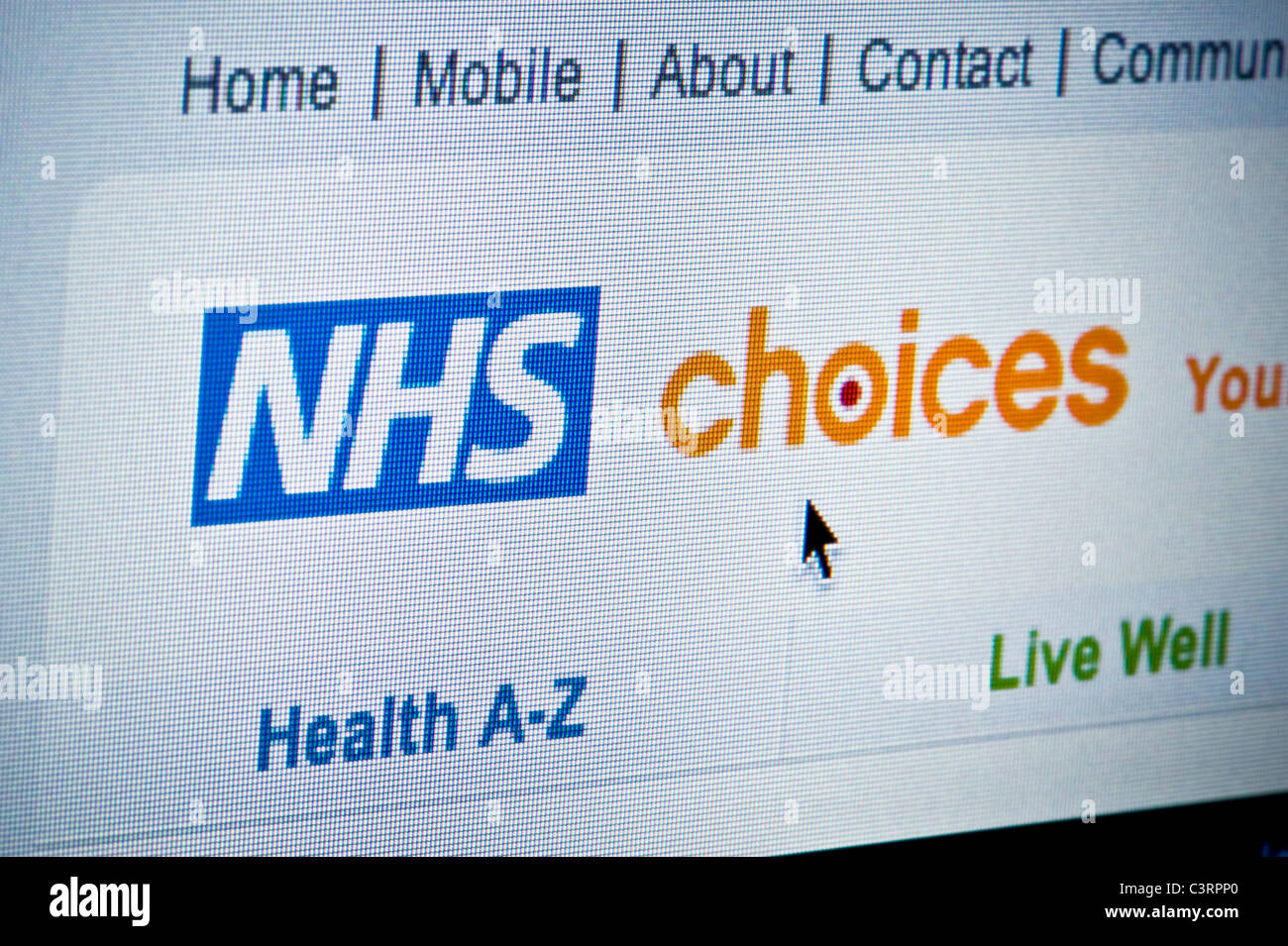 Close up of the NHS Choices logo as seen on its website. (Editorial use only: ­print, TV, e-book and editorial - Stock Image
