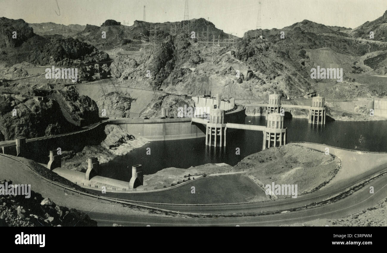 View of Boulder Dam made in 1940. landscape hoover concrete hydro electric power generating man made - Stock Image
