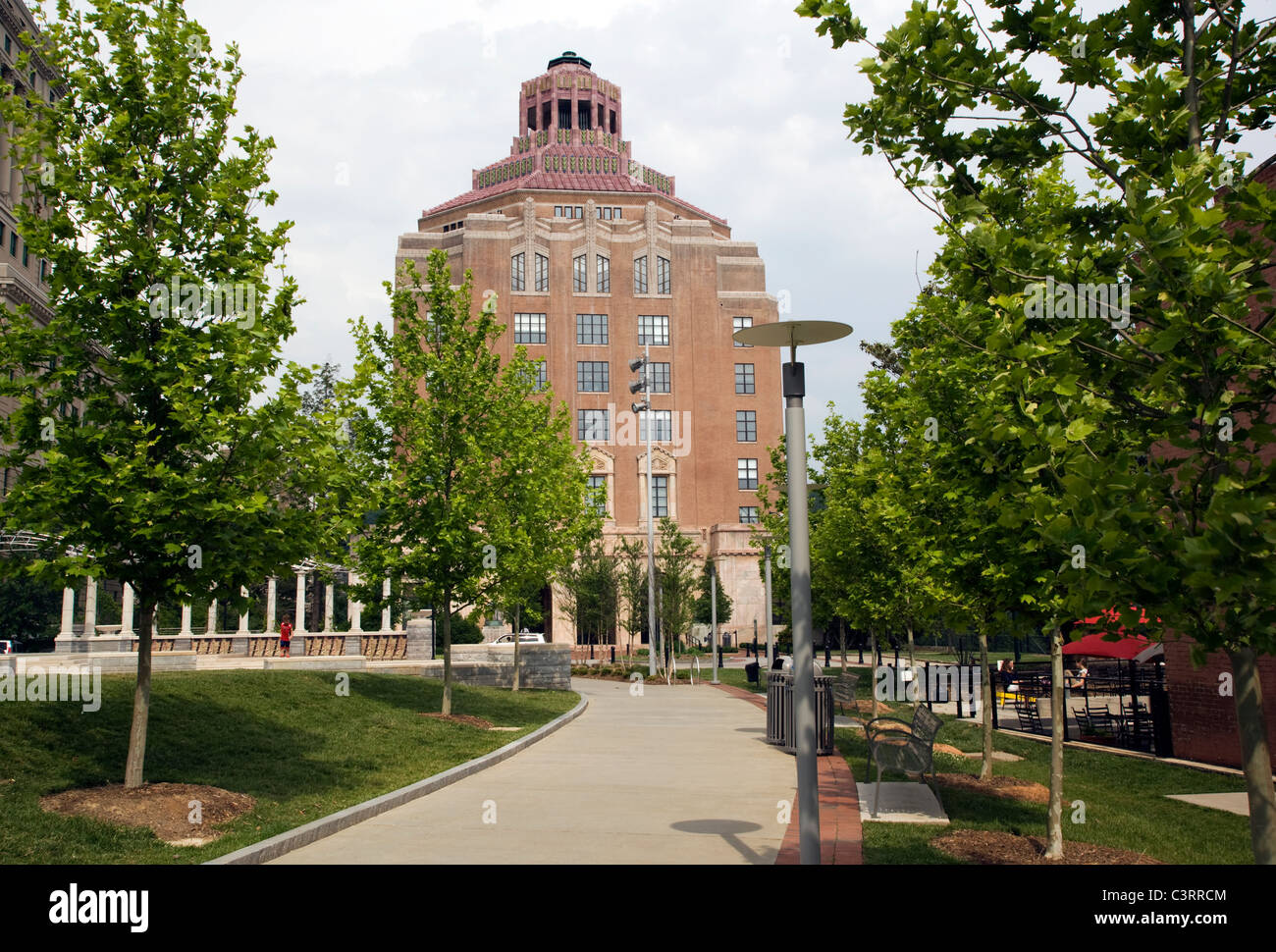 Asheville City Hall - Pack Square - Asheville, North Carolina USA - Stock Image