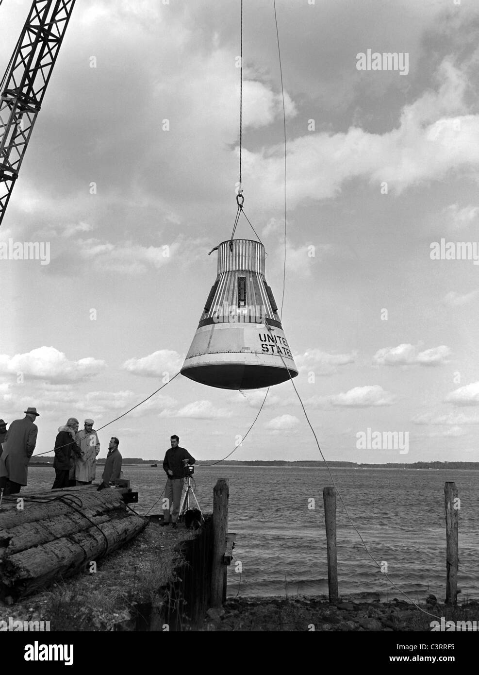 Little Joe Drop Test. Water drop and recovery from shore-based crane at Langley's Back River. - Stock Image