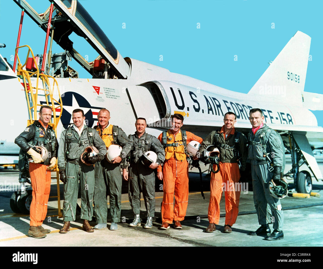 The original seven Mercury astronauts during training at NASA Langley Research Center Project Mercury. - Stock Image
