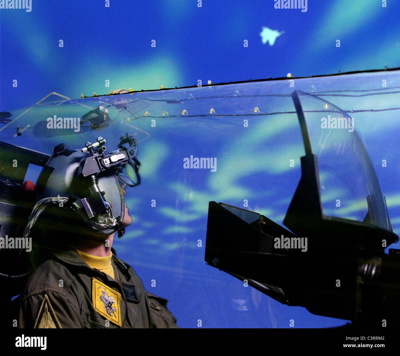 High Performance Aircraft Helmet Mounted Display Research. - Stock Image