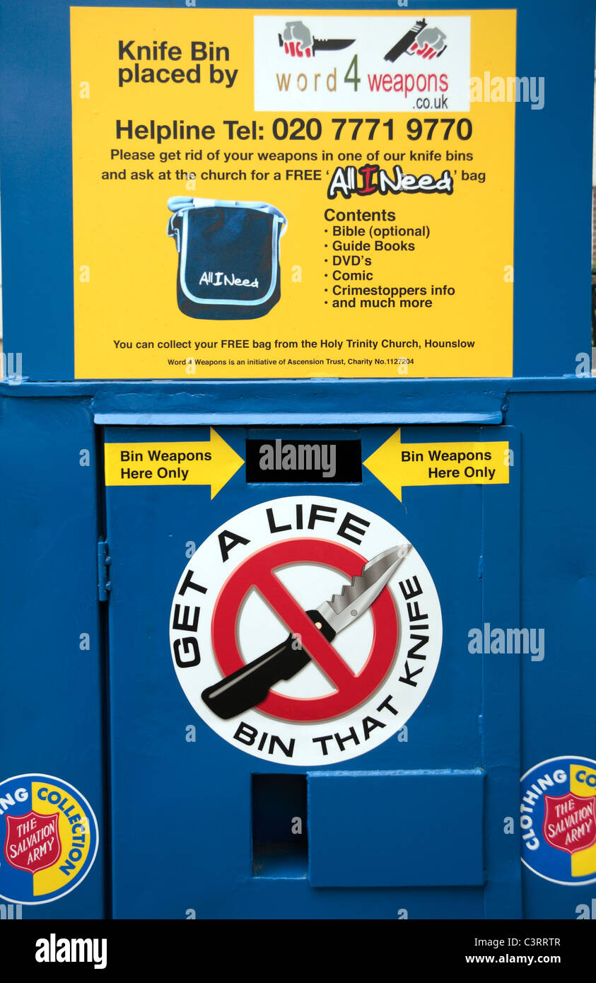 "Close up of a knife amnesty deposit bin (""Get A Life Bin That Knife"") on Hounslow High Street, Middx, UK. Stock Photo"