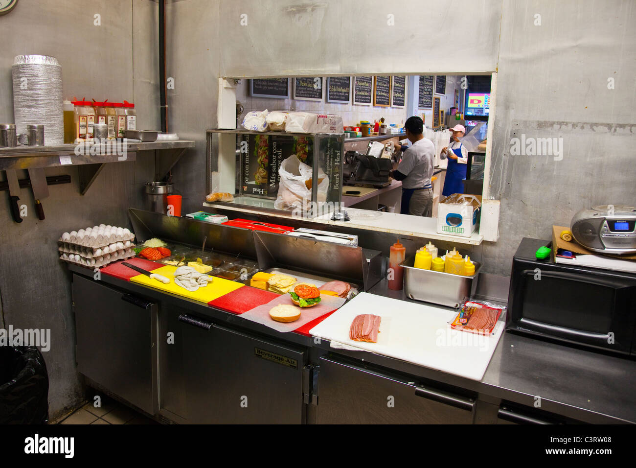 Kitchen inside a deli in Manhattan, New York City - Stock Image
