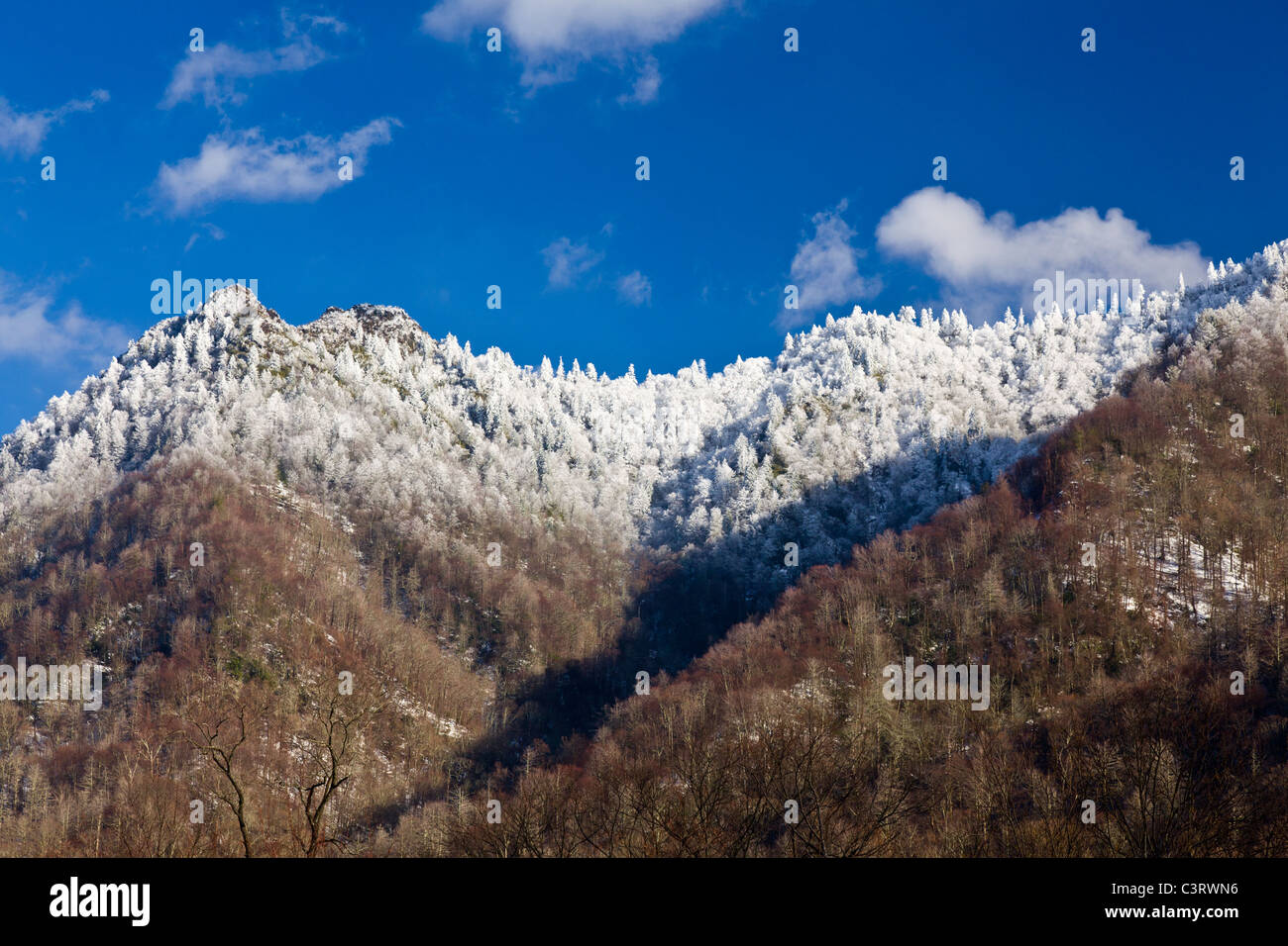 Great Smoky Mountains National Park, USA - view of Chimney Tops covered in snow - Stock Image