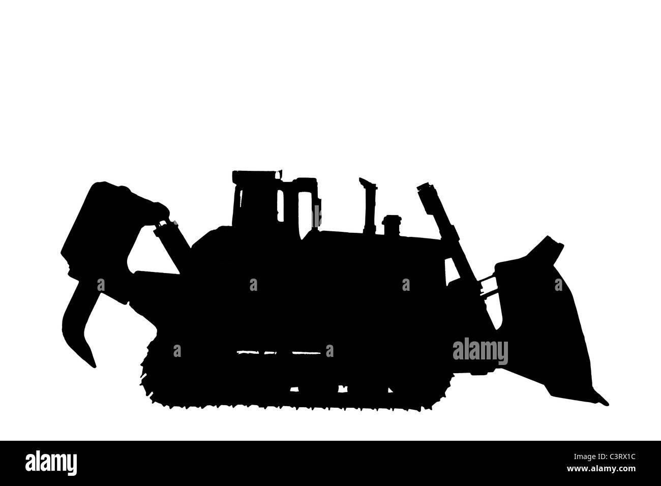 Silhouette of Caterpillar D11R bulldozer - Stock Image