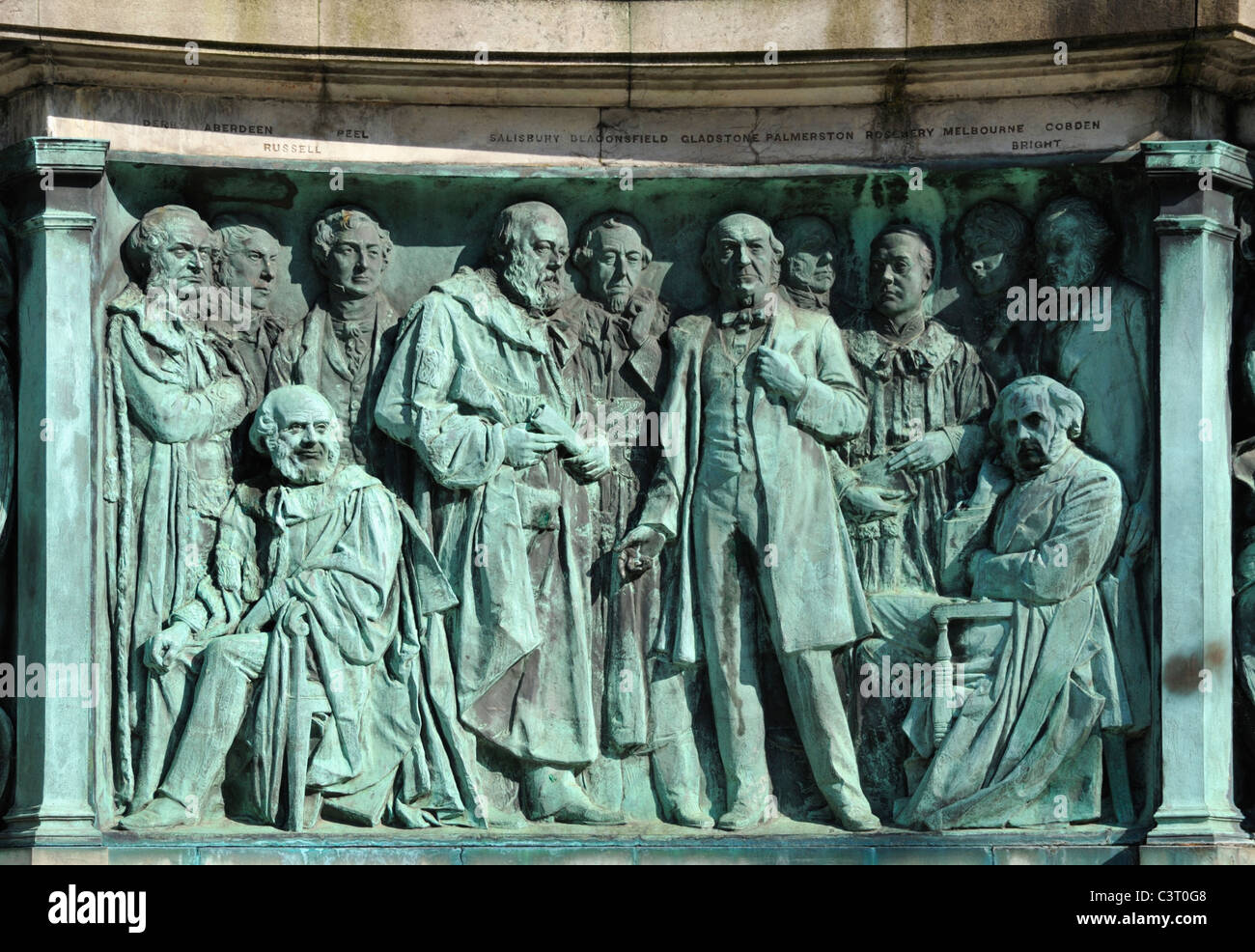 Politicians and statesmen, detail of Queen Victoria Monument. Dalton Square, Lancaster, Lancashire, England, United - Stock Image