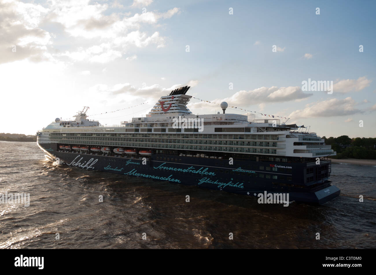 HAMBURG, GERMANY - May 14, 2011: Maiden voyage of 'Mein Schiff 2', the new luxury cruise ship by Tui Cruises - Stock Image