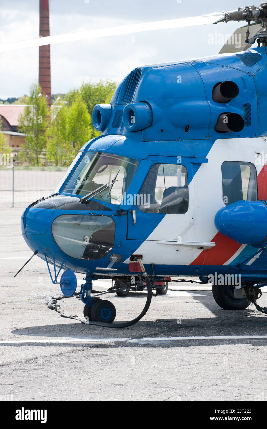 Blue helicopter - Stock Image
