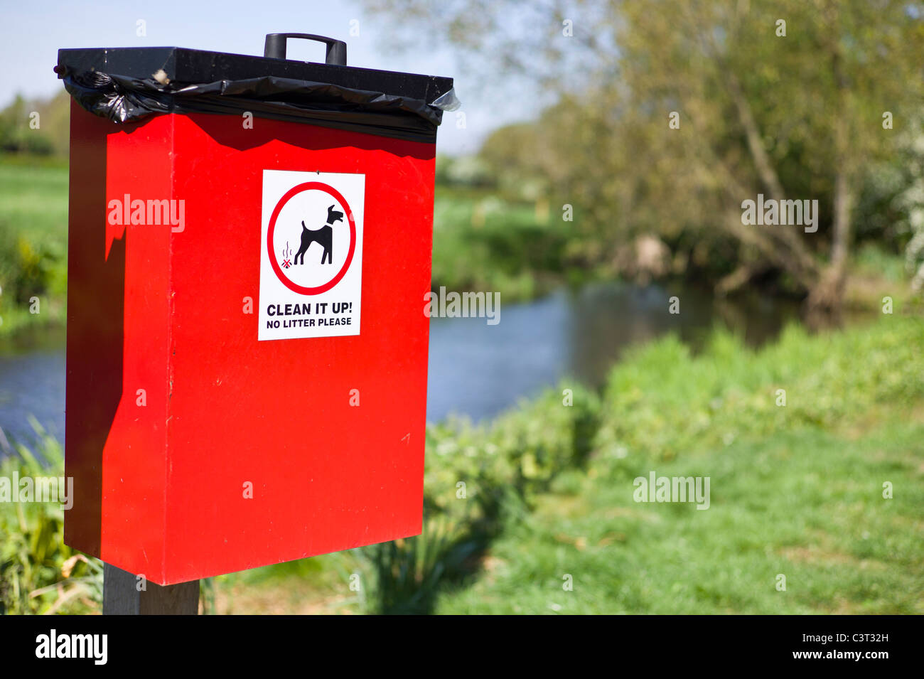 Refuse bin for dog litter in a country lane - Stock Image