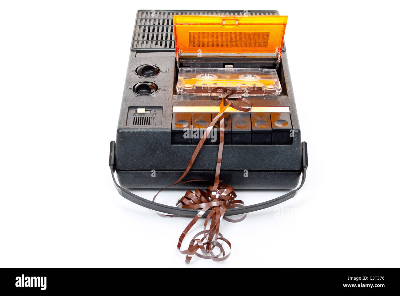 Magnetic audio tape cassette recorder - Stock Image
