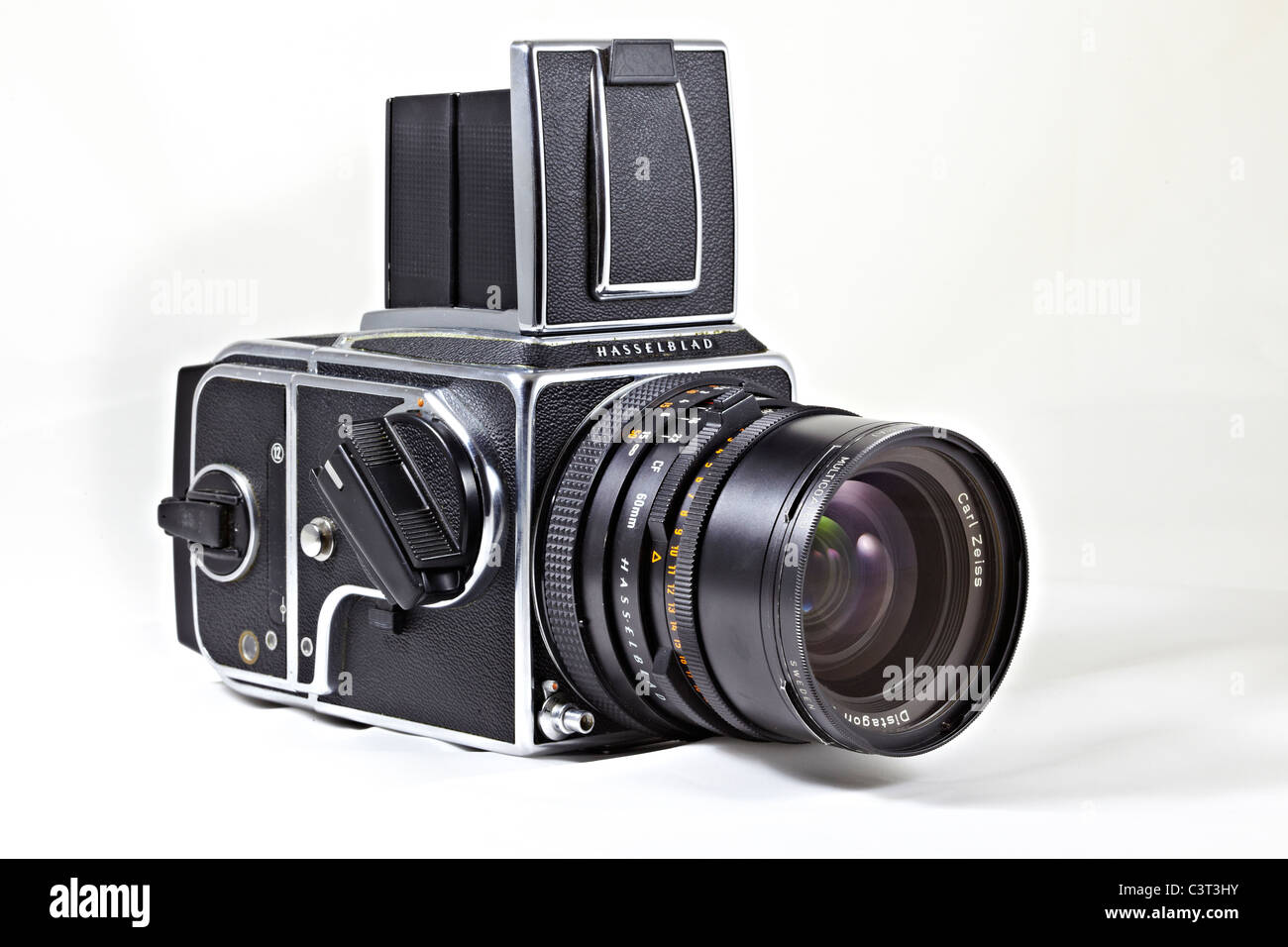 Legendary Hasselblad 500 CM medium format 120 roll film camera and lens. - Stock Image