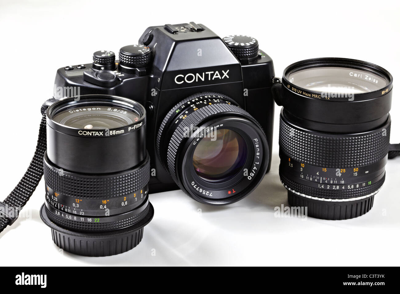 Film camera. Legendary Contax RX 35mm SLR designed by Porsche and complete with Carl Zeiss lenses. Stock Photo