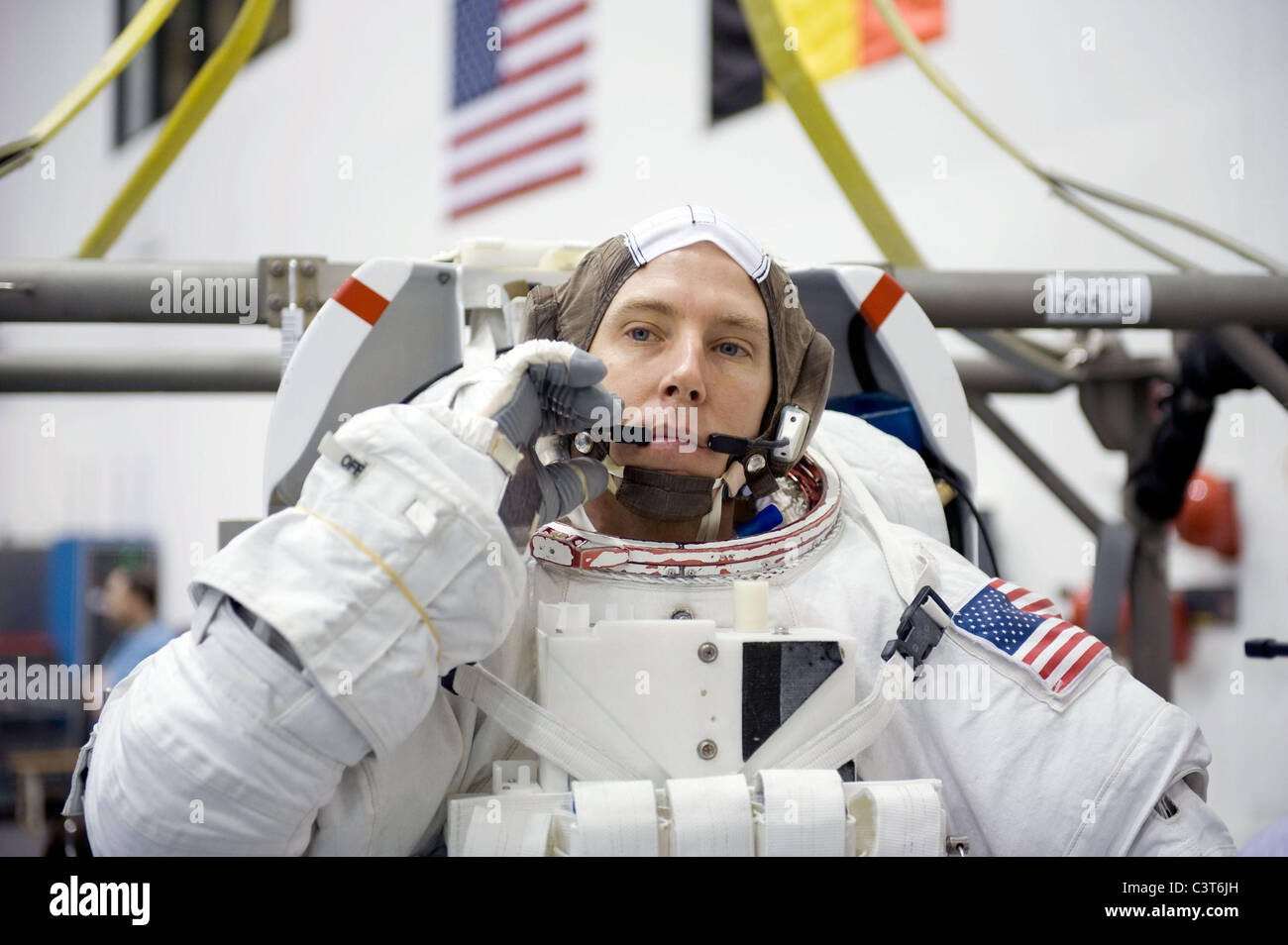 Suited for Training NASA astronaut Andrew Feustel, STS-134 mission specialist, is attired in a training version - Stock Image