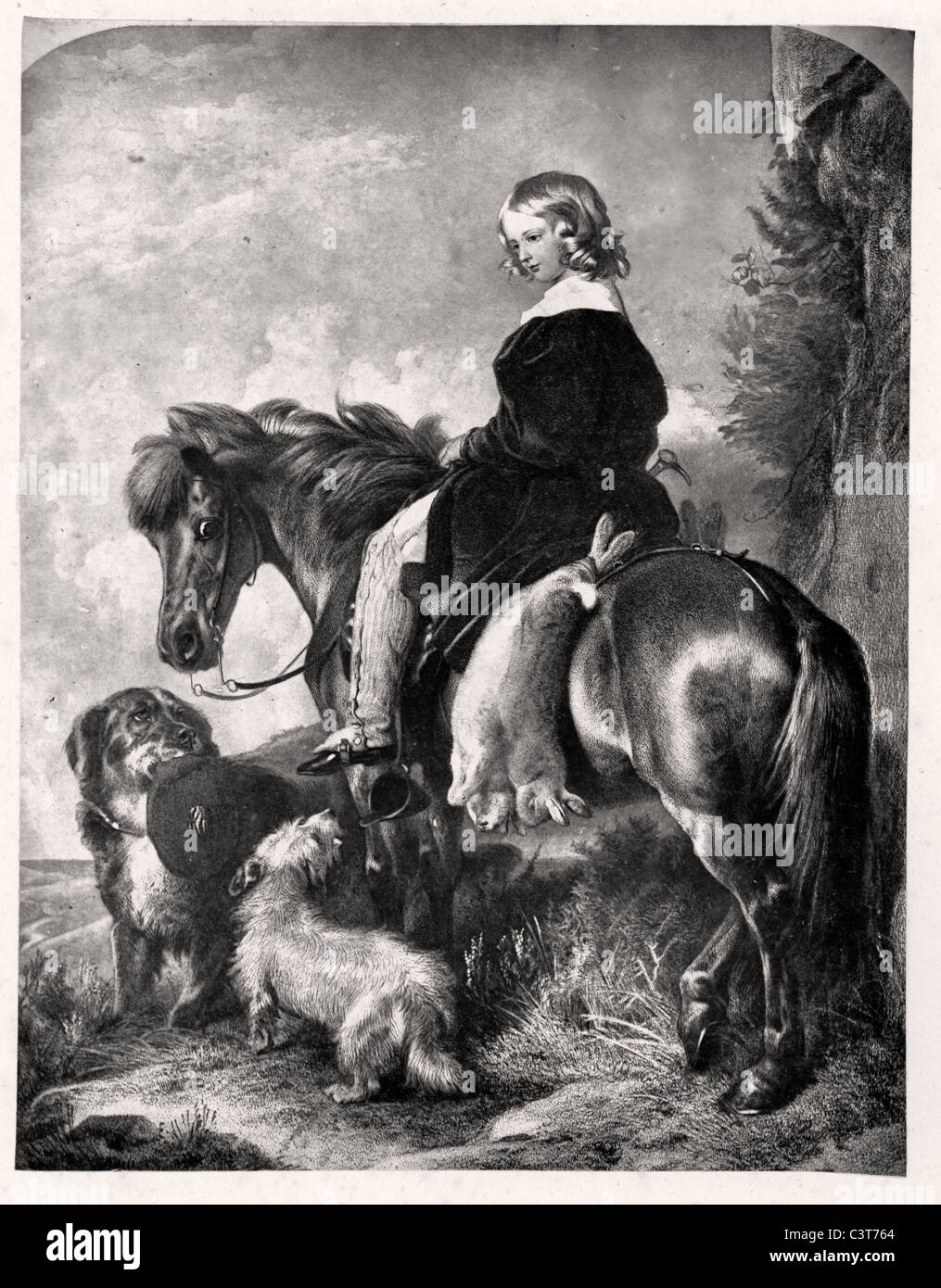 The Return from the Warren by Edwin Henry Landseer. A young boy on horseback, with two dead rabbits hanging from - Stock Image