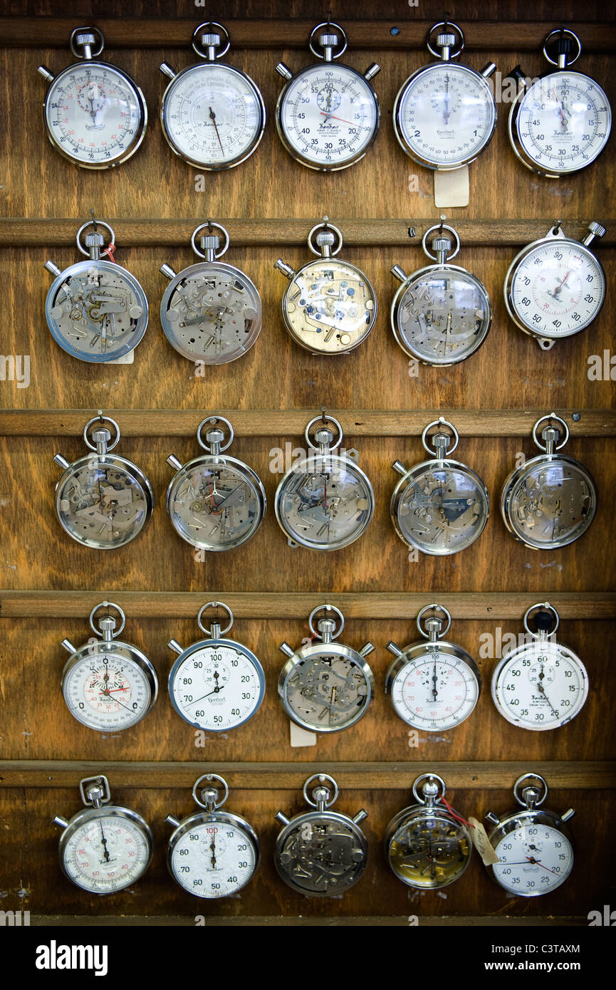 Stopwatches in the Hanhart watch factory, Guetenbach, Germany Stock Photo