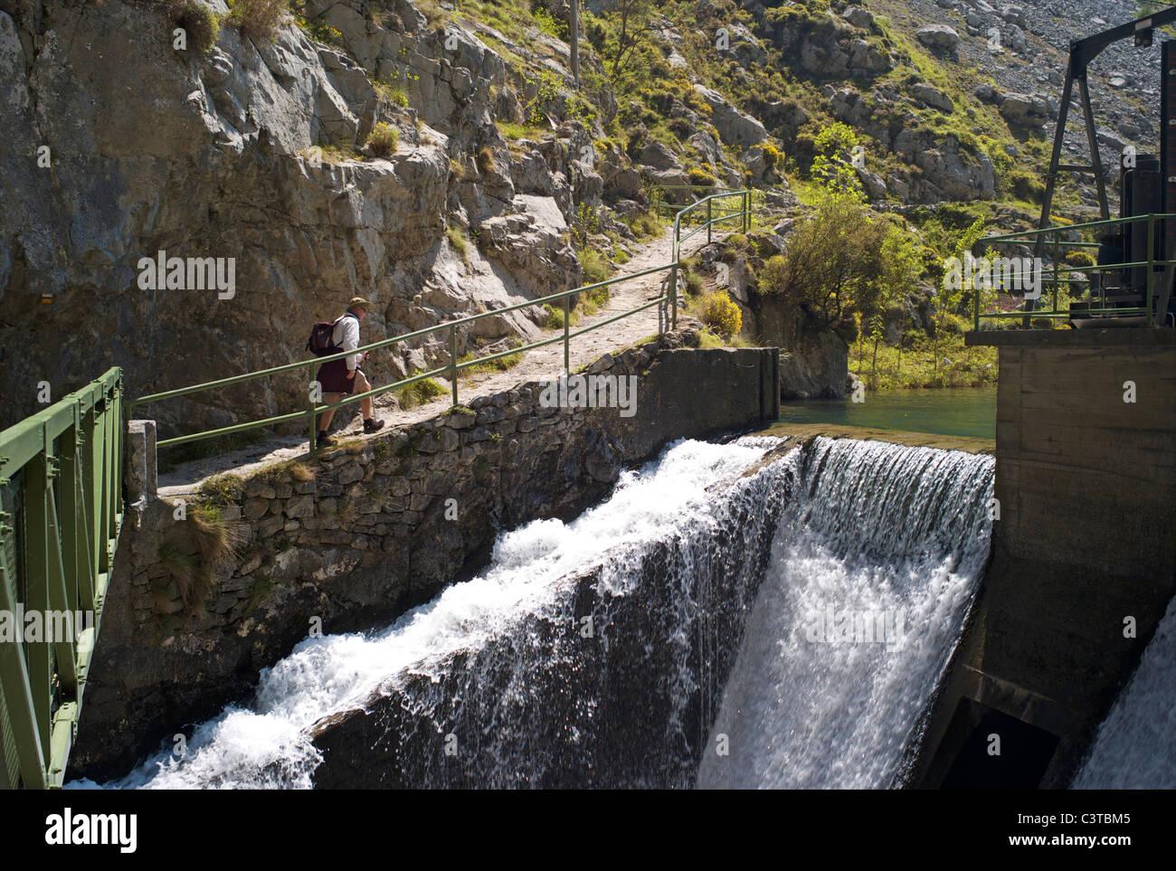 Walking the Cares Gorge footpath near Cain, Picos de Europa, Castilla y Leon, Spain - Stock Image