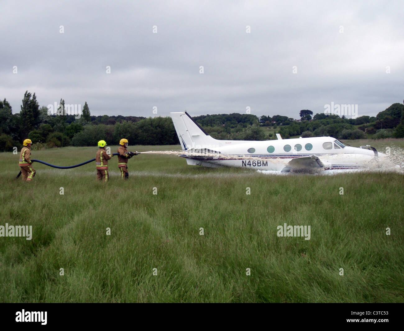 UK, Aircraft incident close to Hurn airport, Dorset. - Stock Image