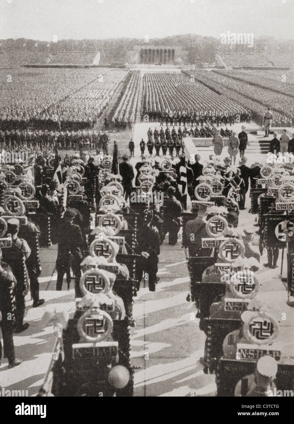 Overview of the mass roll call of SA, SS, and NSKK troops at the 1935 Nazi Party Day, Luitpold Arena, Nuremberg, - Stock Image